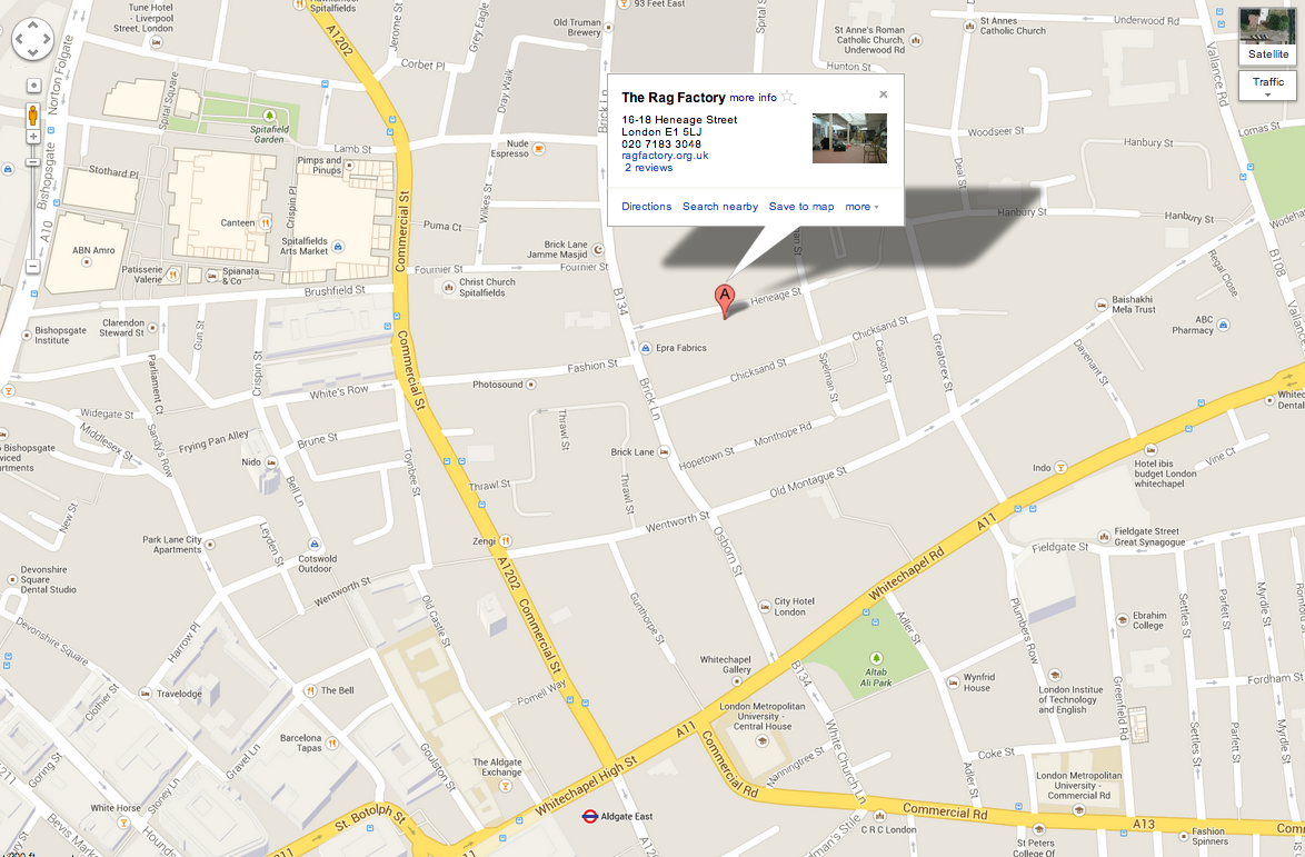Map to the Rag Factory Gallery