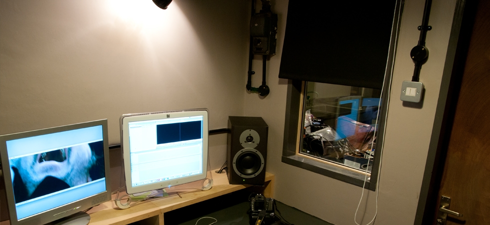 Edit Suite - The edit suite, is a sound dampened room, with incredible sound and video editing facilities
