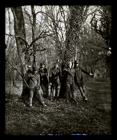 Radiohead, The King of Limbs - The picture was made for the press photo for the launch of the album The King of Limbs, the picture took two days to make using Sebastians camera and the Wet Collodion process